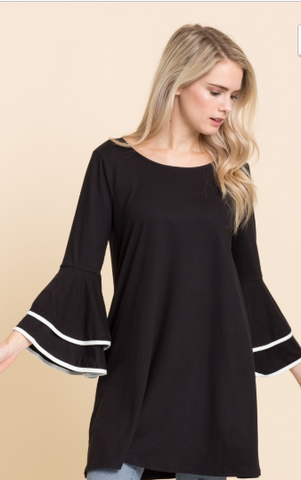 Bell Sleeve Top with Contrasting Color Sleeve Detail