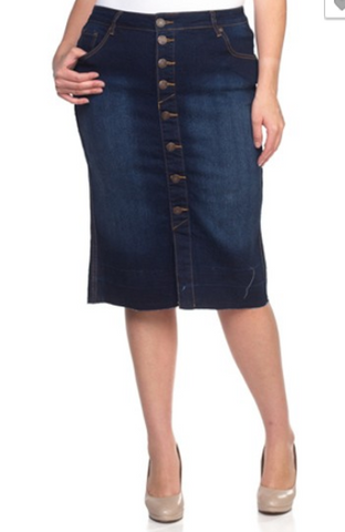 Button Down Midi Denim Skirt