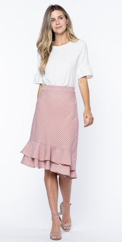 Striped Asymmetrical Ruffled Hem Skirt