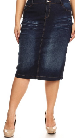 Dark Indigo Midi Denim Skirt