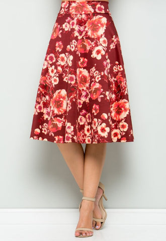 Burgundy Floral Flared Midi Skirt