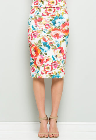 Ivory Floral Pencil Skirt