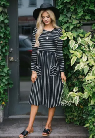 Black Striped Midi Dress