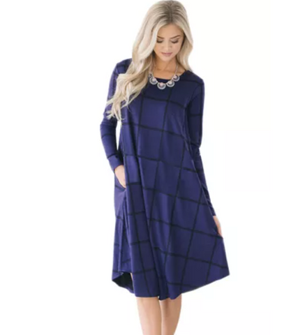 Navy Blue Checked Swing Midi Dress