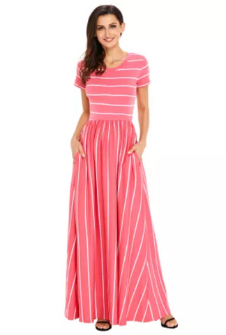 Coral and White Striped Maxi Dress