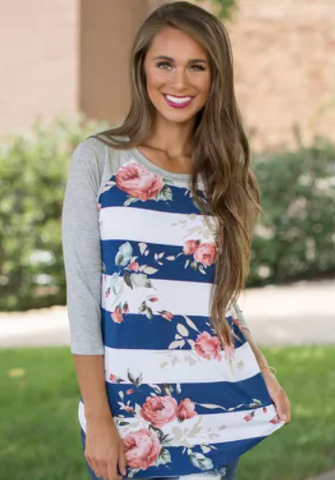 Blue and White Bold Stripe with Rose Print Raglan Top