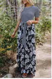 Black and White Floral Print and Striped Maxi Dress