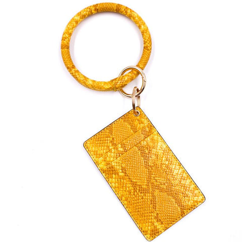 Snakeskin Key-Ring Wristlet with ID Holder *Available in Multiple Colors