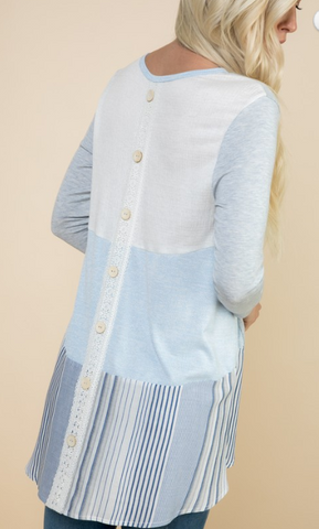 Tunic with Back Buttons and Lace Detail