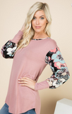 Floral Contrast Solid Top