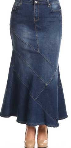 Indigo Washed Fish Tail Long Denim Skirt
