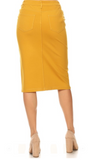 Mustard Double Knit Ponte Midi Skirt