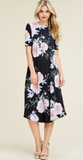Soft Black Flared Midi Dress with Bold Floral Print