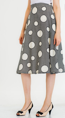 Retro Inspired Black and White Print Midi Skirt