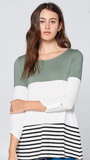 Color Block Tunic with Lace Crochet Button Back