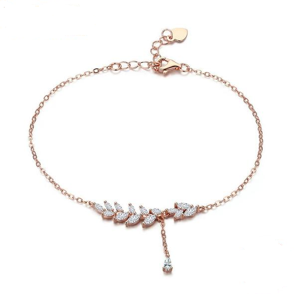 925 Sterling Silver Rose Gold Tree Leaves Lobster Clasp Adjustable Bracelet