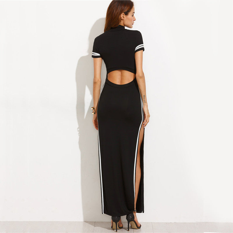 Sexy Black Striped Short Sleeve Bodycon Back Cut Out Dress