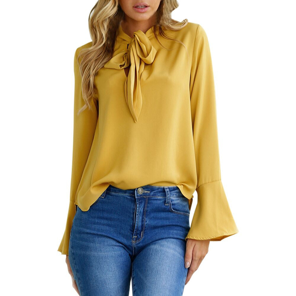 Elegant Ruffles Long Flare Sleeve Blouse