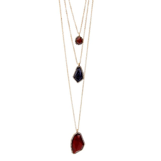 Colorful Multi Strand Faux Geometric Pendant Necklace