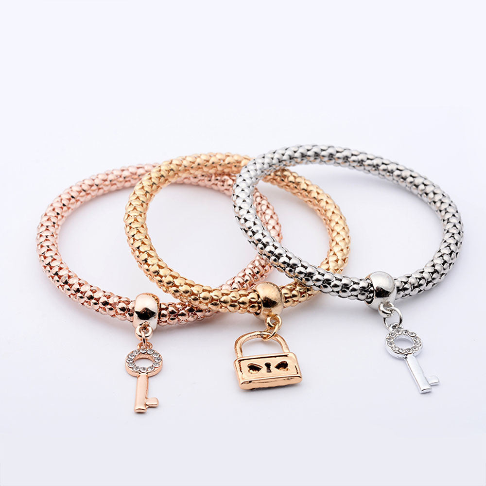 3pc Charm Love Lock Pendant Bracelet