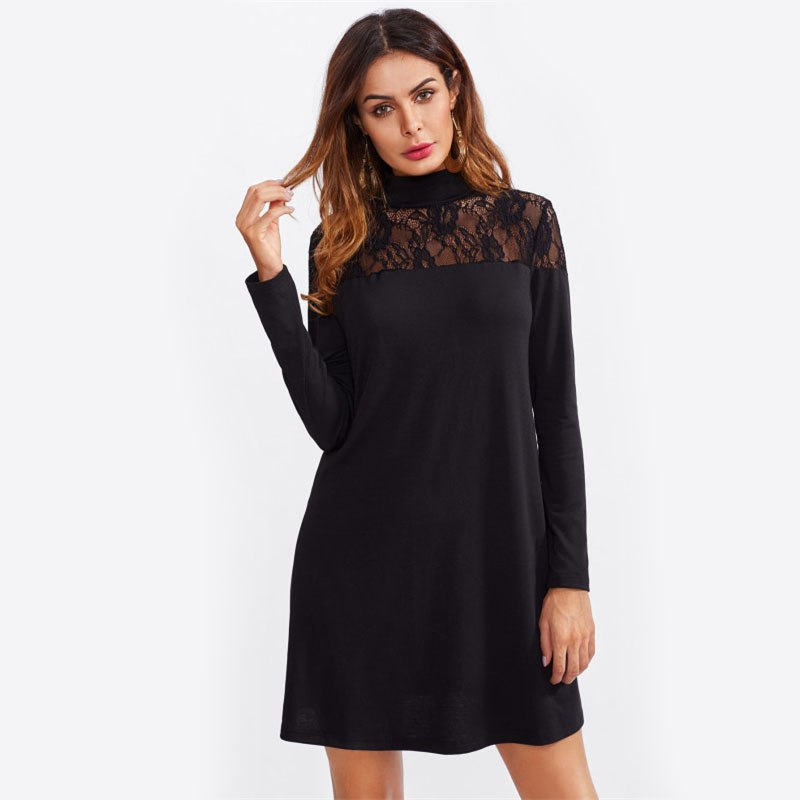 Elegant Sexy Sheer Lace Long Sleeve Black Dress