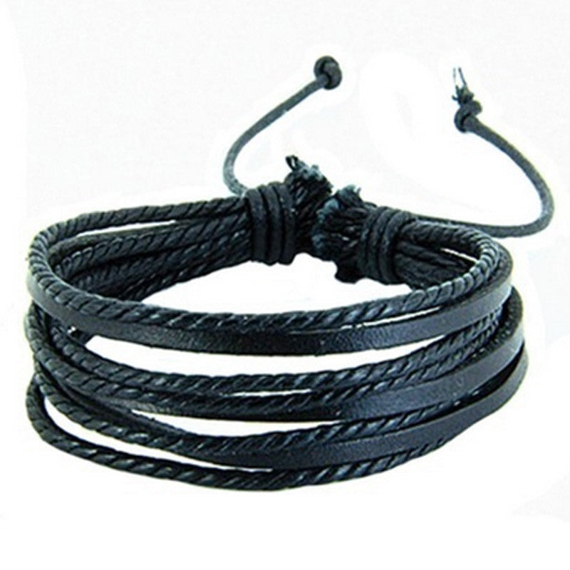 Multi-layer Black Leather Bracelet