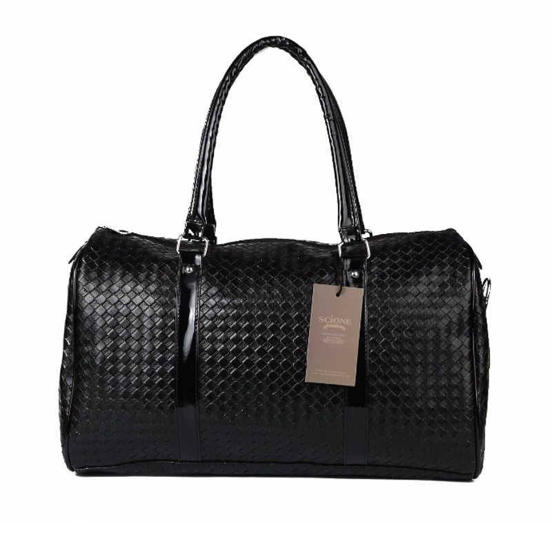 Black Weaved Faux Leather Travel Duffel Bag