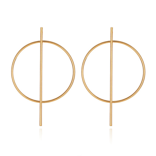 Large Simple Geometric Circle Round Hoop Earrings