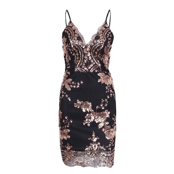 Sexy V Neck Sequin Party Mini Dress
