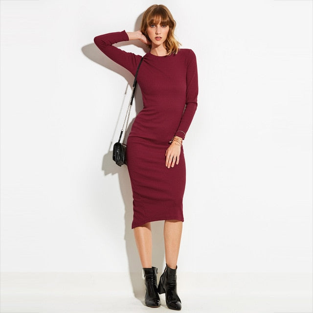 Bodycon Mid-Calf O-Neck Knitted Dress