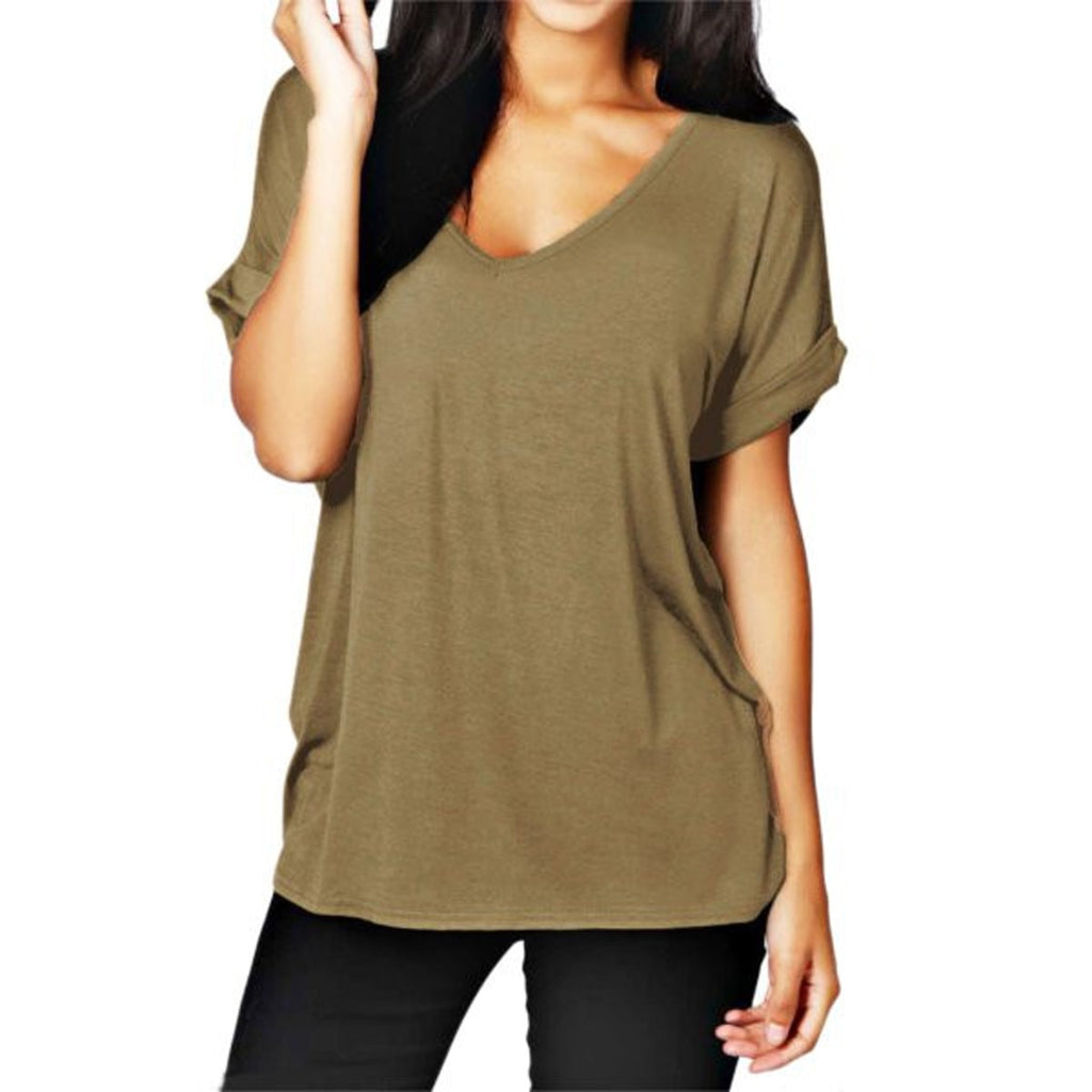Short Sleeve V-neck Loose Casual T Shirt