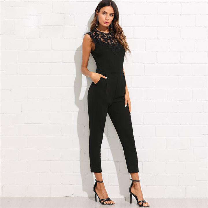 Elegant Black Lace Jumpsuit