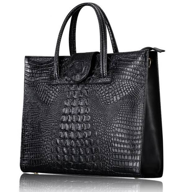 Crocodile Embossed Leather Tote Handbag