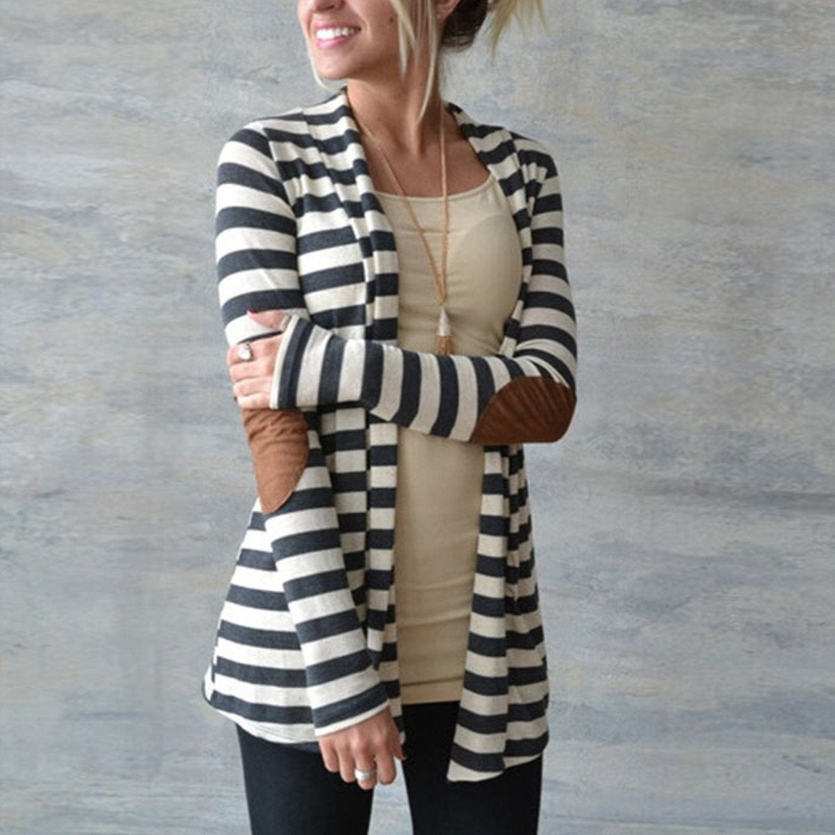 Long Sleeve Striped with Elbow Patchwork Knitted Sweater Cardigan