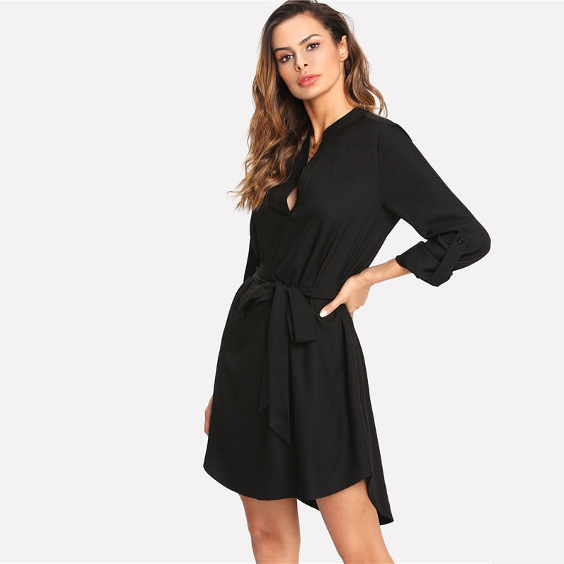Black V Neck Long Sleeve Belted Bow Asymmetrical Dress