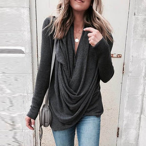 Long Sleeve Pullover Loose Fit Blouse