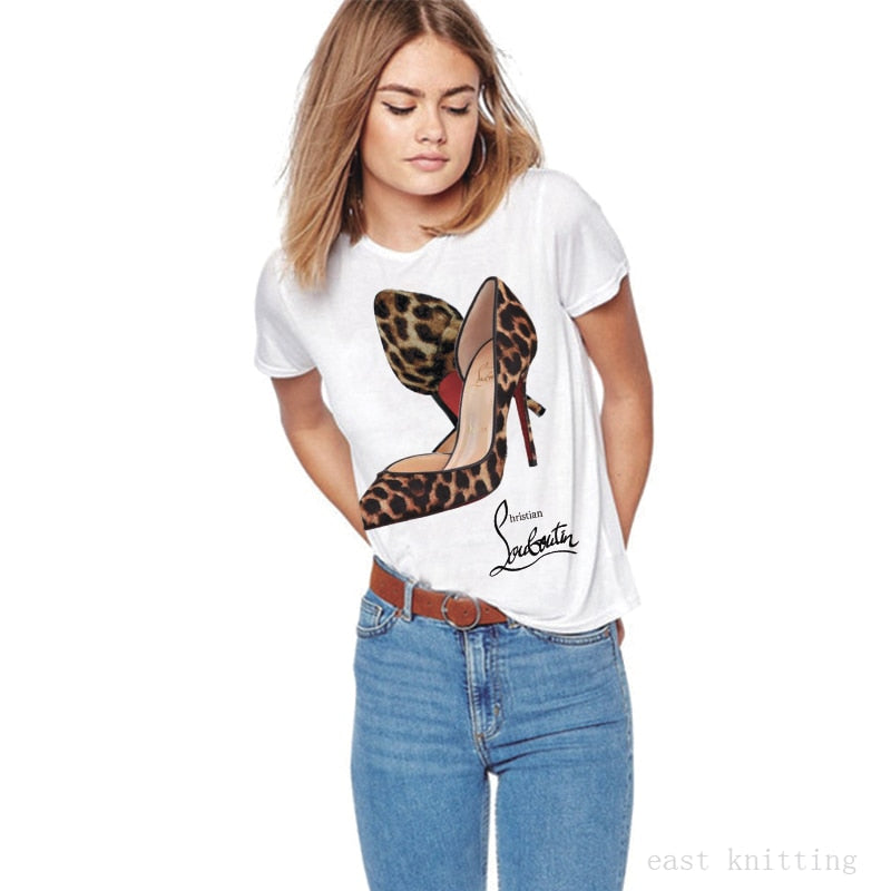 Leopard Red Bottoms High-heeled Shoes Print T shirt