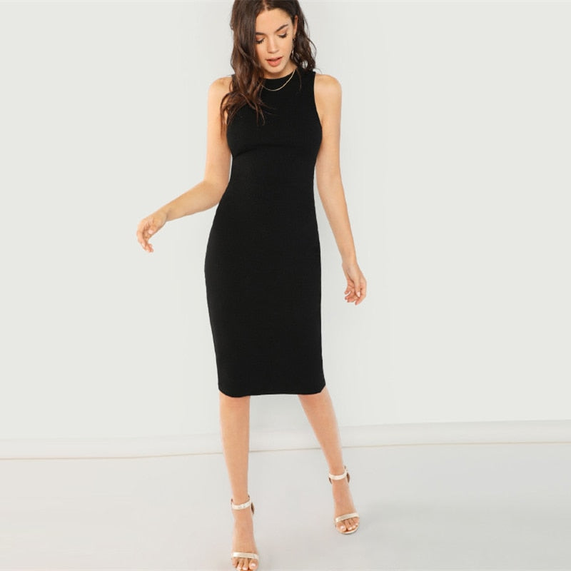 Black Elegant Solid Pencil Sleeveless Knee Length Dress