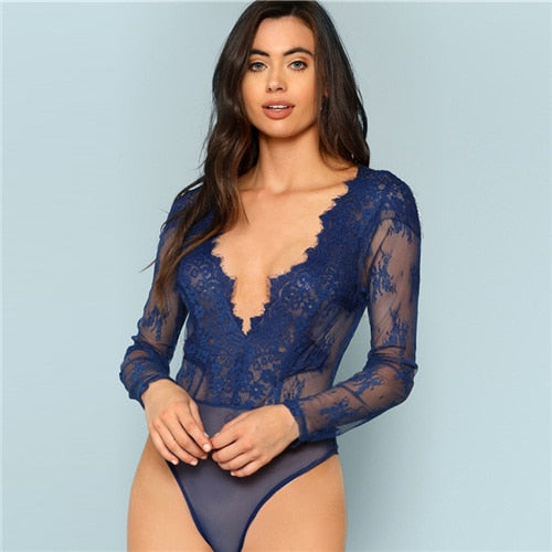 Blue Plunge Neck Floral Embroidery Lace Bodysuit