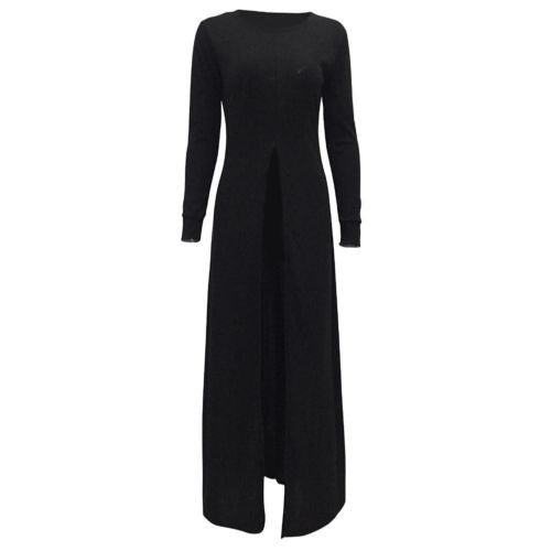 Long Sleeve Front Split Dress Coat