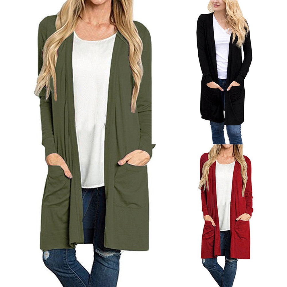Long Sleeve Open Front Loose Pocket Causal Lightweight Cardigan