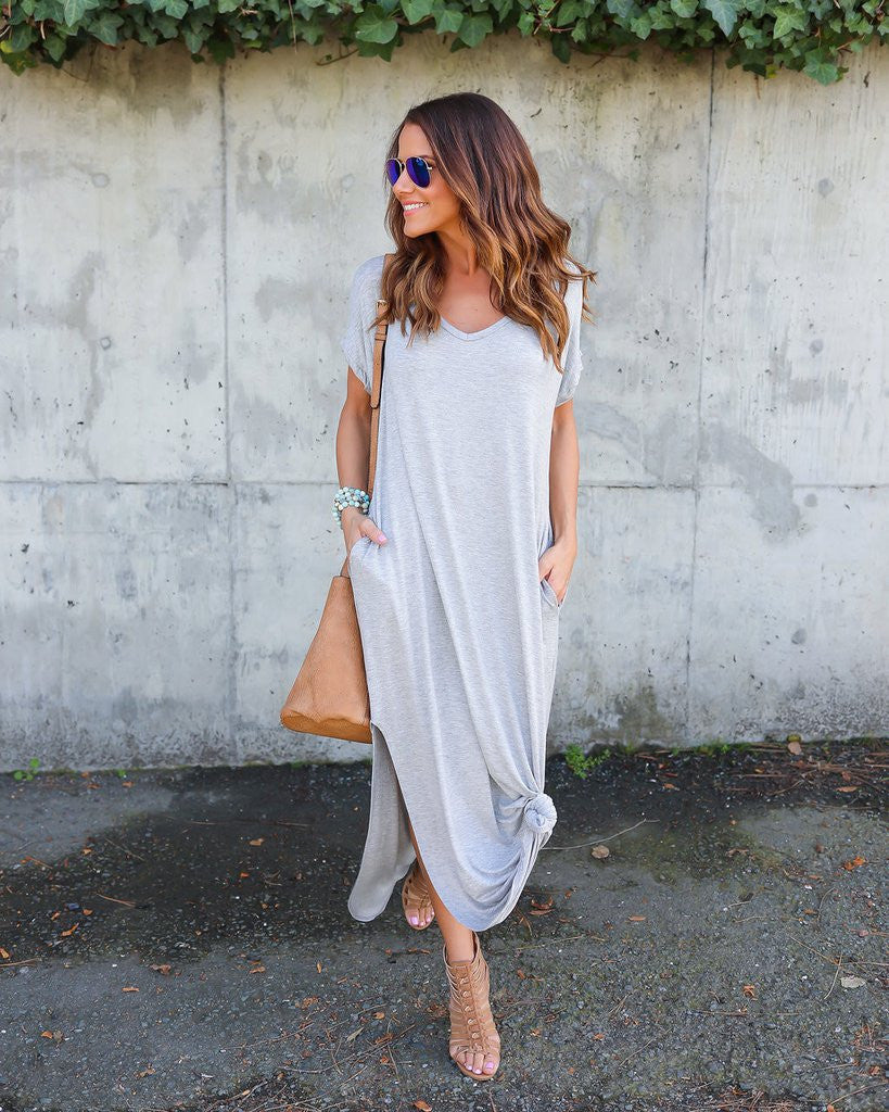 Long Casual Shirt Dress with Pockets