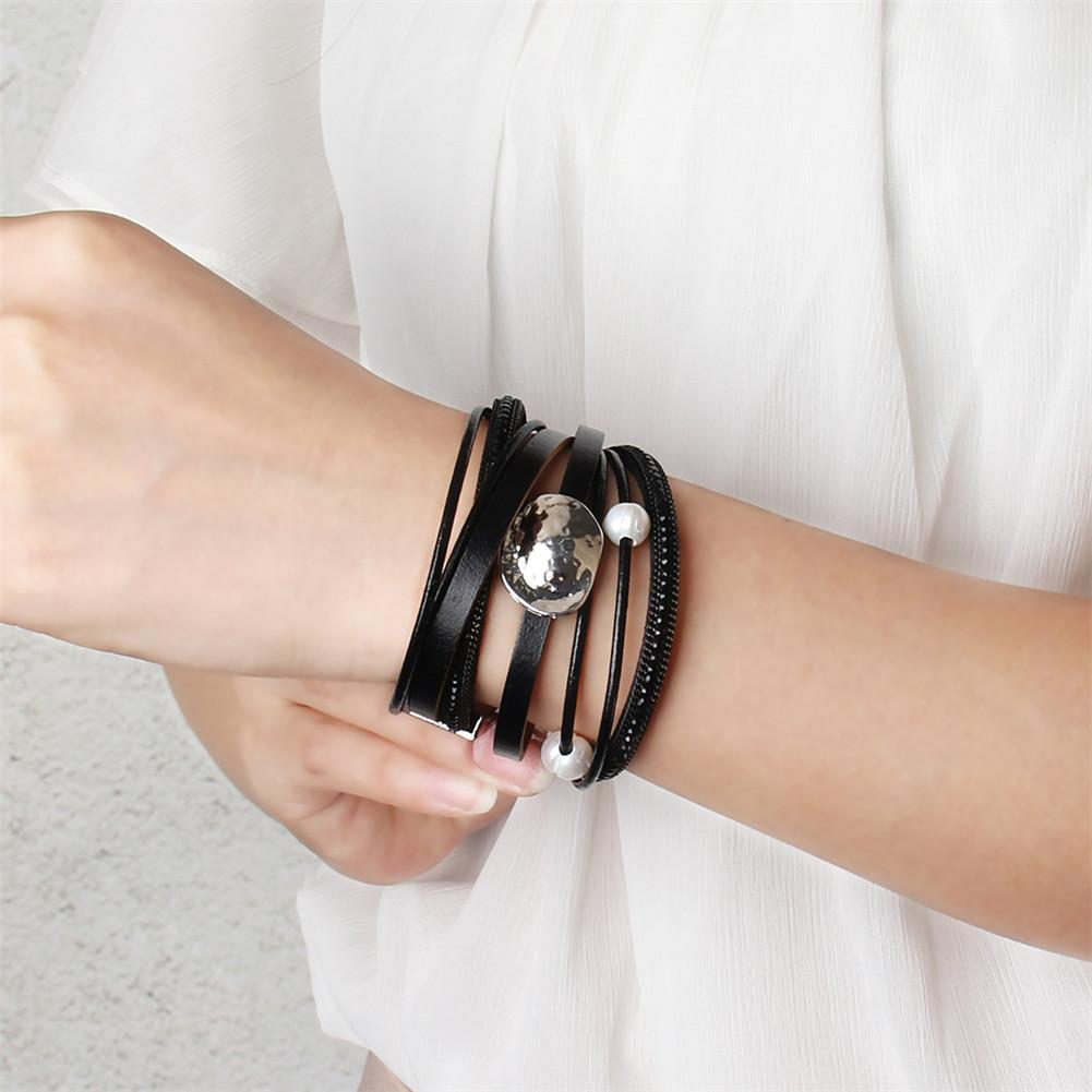 Magnet Buckle Multi-layer Faux Leather Handmade Bracelet