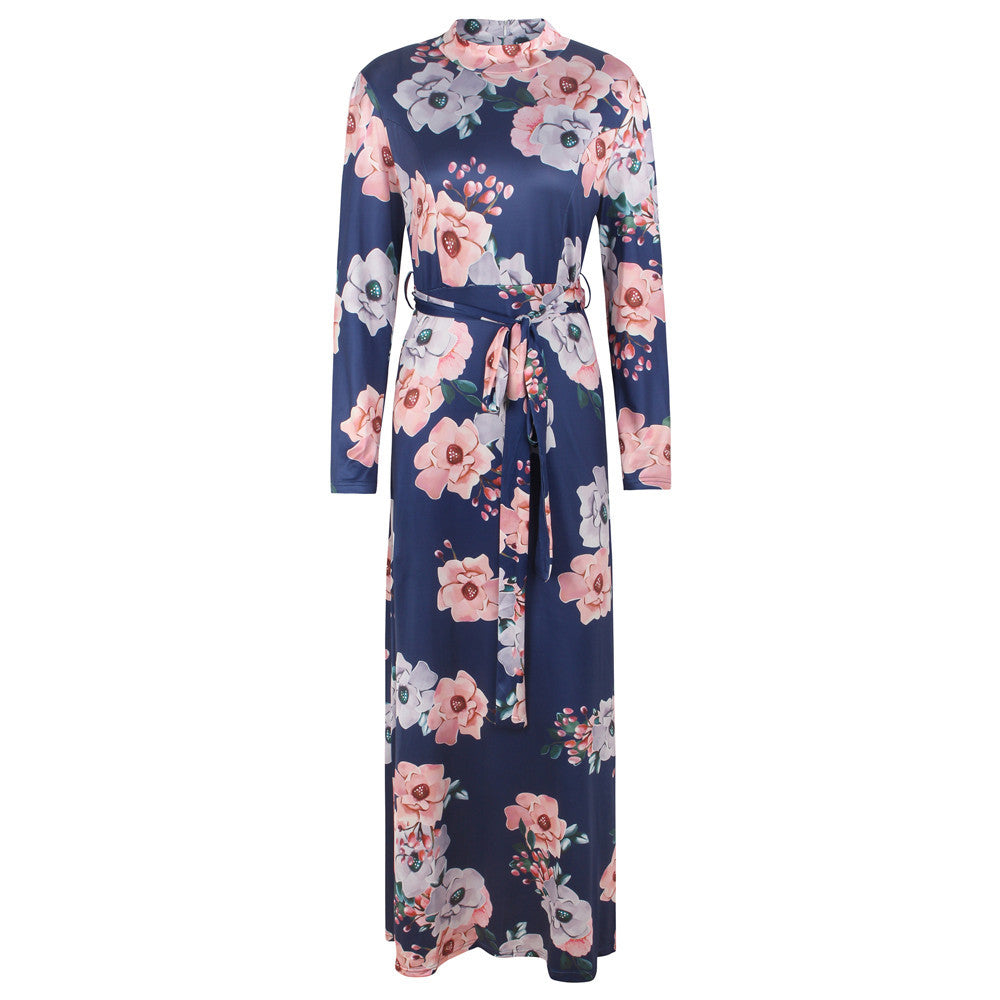 Floral Printed Multicolor Boho Bohemian Turtleneck Long Sleeve Belted Dress