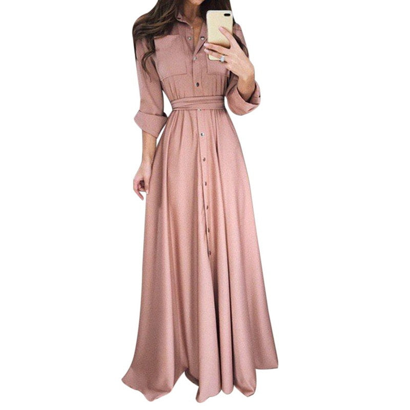 Elegant Long Belted Dress