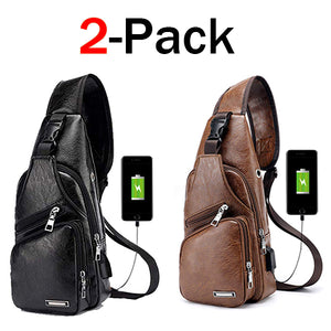2b2b61f15009 $21.98 for 2 packs !!!Large Men's Leather Bag Chest Backpack Waterproof  Crossbody Bag with USB