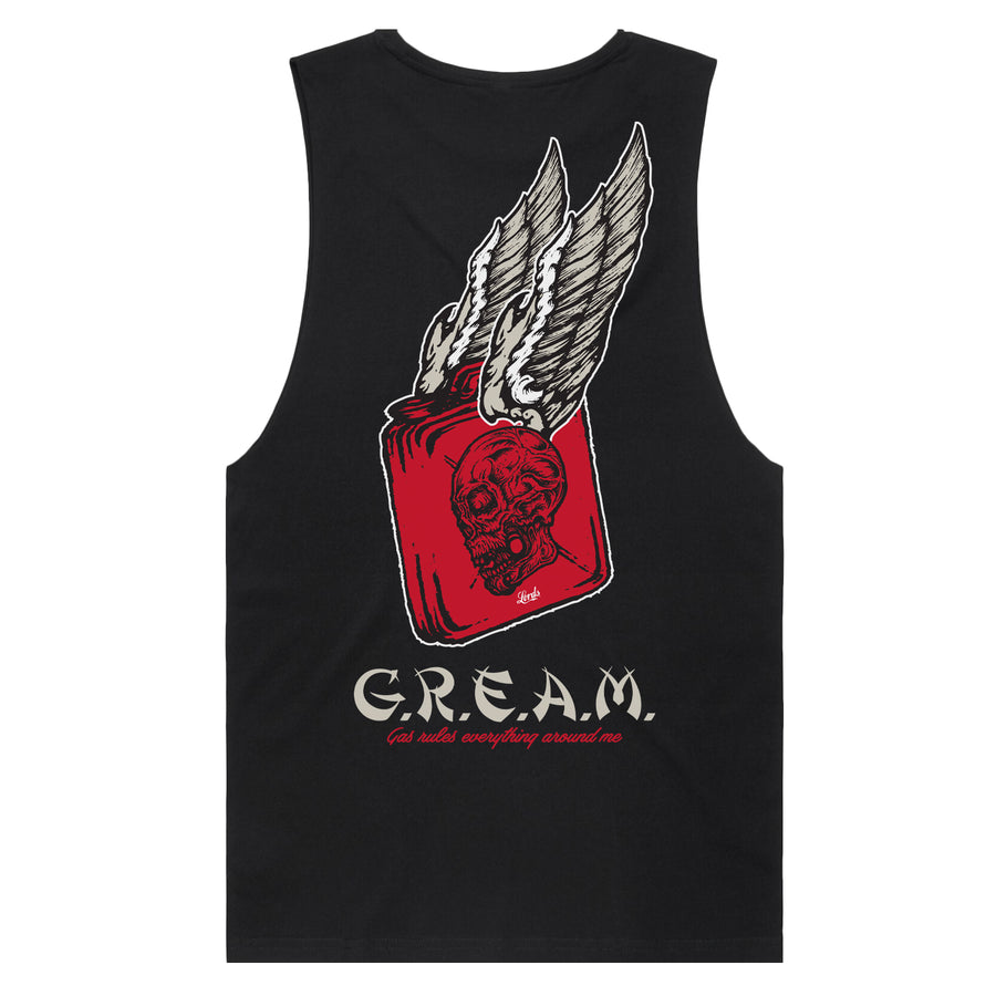 PRE ORDER - Lords Of Gastown - G.R.E.A.M. - Black Organic Drop Armhole Tank