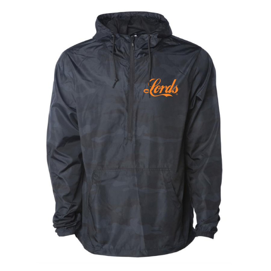 Lords Of Gastown - G.O.A.T. Collection - OG Chief Windbreaker - Black Camo w/ Orange Print