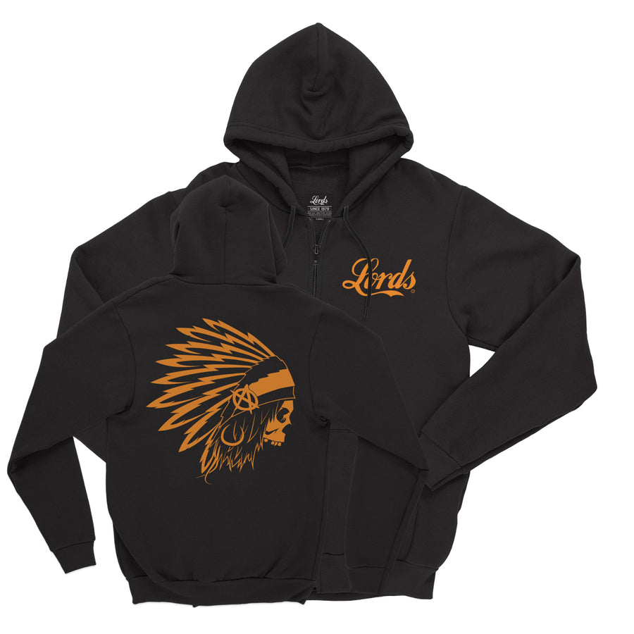 Lords Of Gastown - OG Chief - Black w/ Harley Orange Print - Zip Up Hoodie