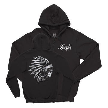Lords Of Gastown - OG Chief - Black w/ Reflective Print - Zip Up Hoodie